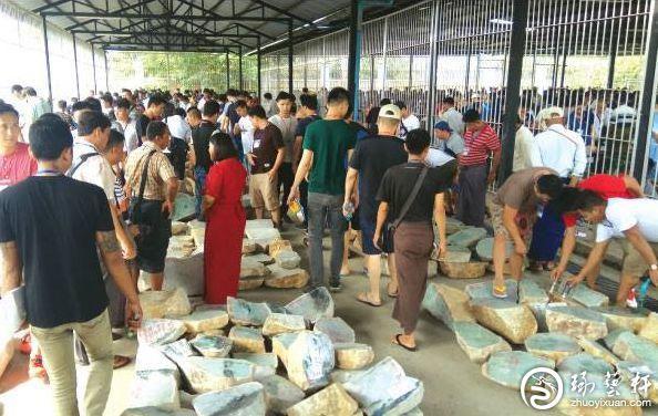 55届缅甸玉石公盘1500万欧元天价原石受瞩目